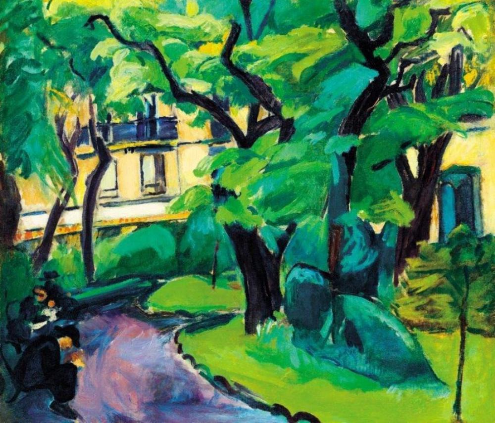 DÉNES VALÉRIA Párizsi parkban (A Cluny park), 1910–11 körül