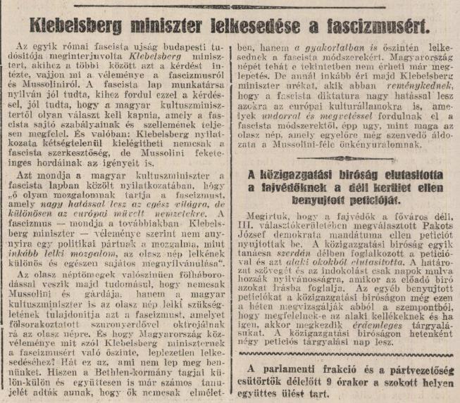 Klebelsberg lelkesedett a fasizmusért